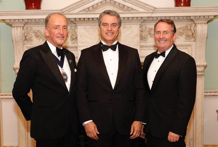 Charles Bowman, Lord Mayor of London, Roberto Azevêdo, Director general of the World Trade Organization, and Dr Liam Fox, International Trade Secretary