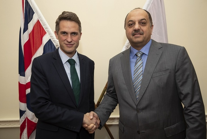 Defence Secretary Gavin Williamson shakes hands with His Excellency Khalid bin Mohammad Al Attiyah. Crown copyright.