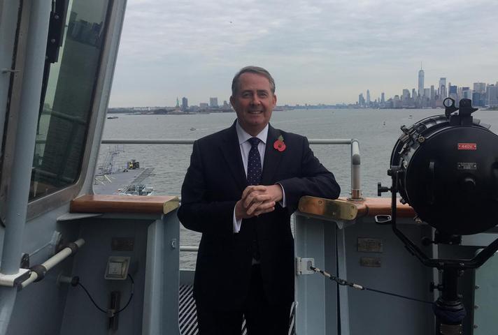 Dr Liam Fox on board the HMS Queen Elizabeth in New York City