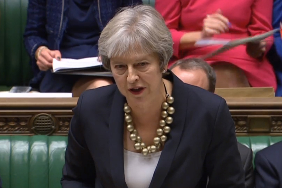 Prime Minister Theresa May addressing the House of Commons