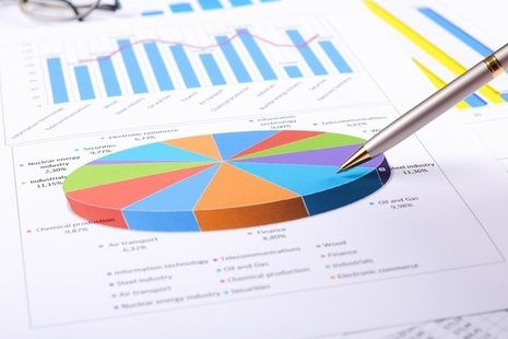 Photo showing pen, pie chart and graphs