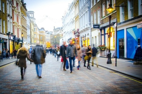 Shoppers on a high street