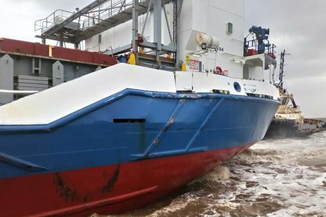 Damage to Celtic Spirit's port side quarter