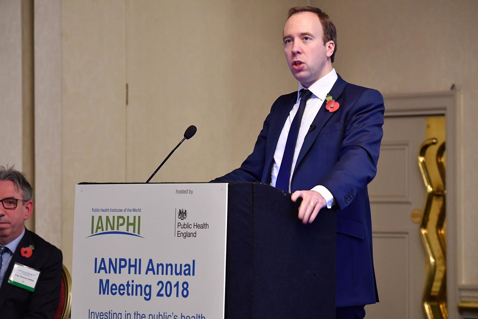 Secretary of State for Health and Social Care Matt Hancock giving a speech at IANPHI annual meeting