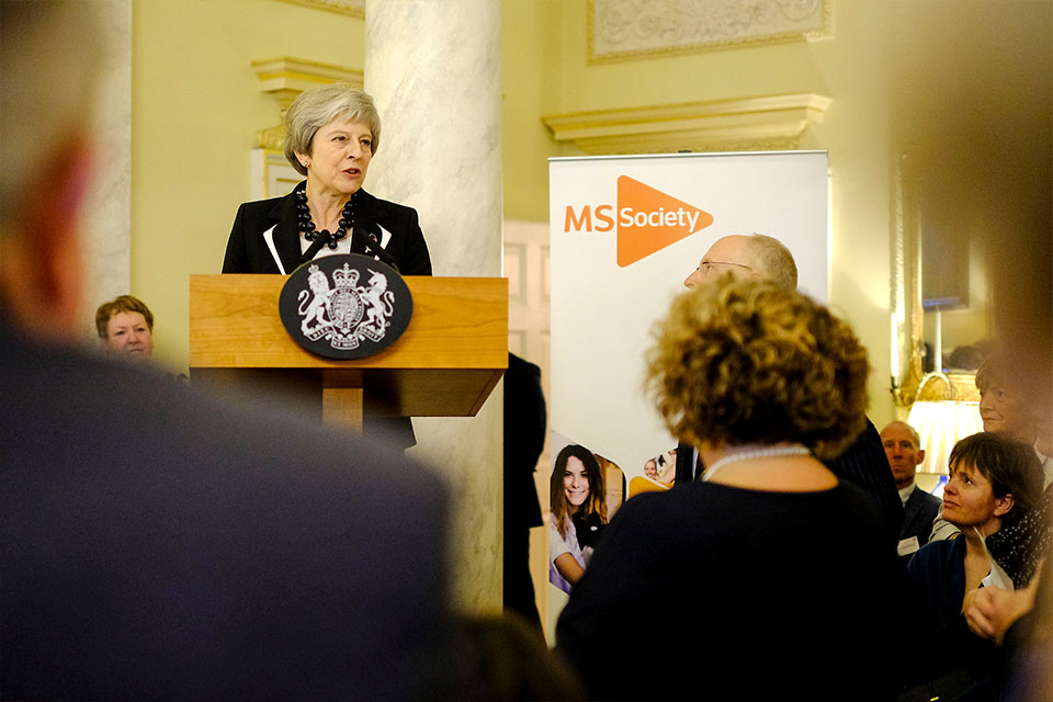 PM makes a speech at the MS Society reception