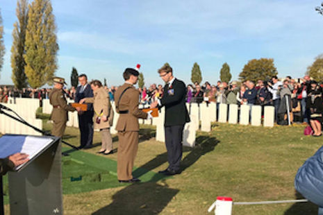 Minister for Defence People and Veterans, Tobias Ellwood at Tyne Cot Cemetery, Ypres, Belgium. MOD Crown Copyright 2018.