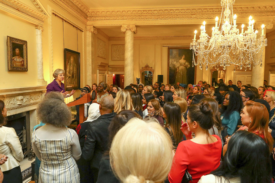 Prime Minister Theresa May giving speech in 10 Downing Street