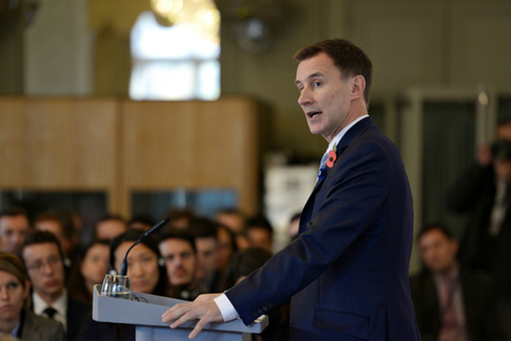 Landscape of Jeremy Hunt in front of a crowd