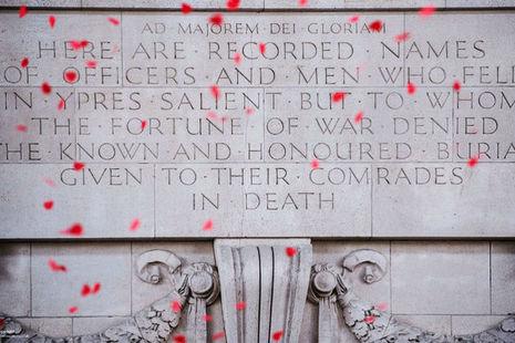 Poppies falling at the Thiepval War Memorial