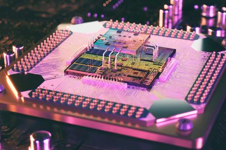 Artist's imagining of a quantum computer processor.