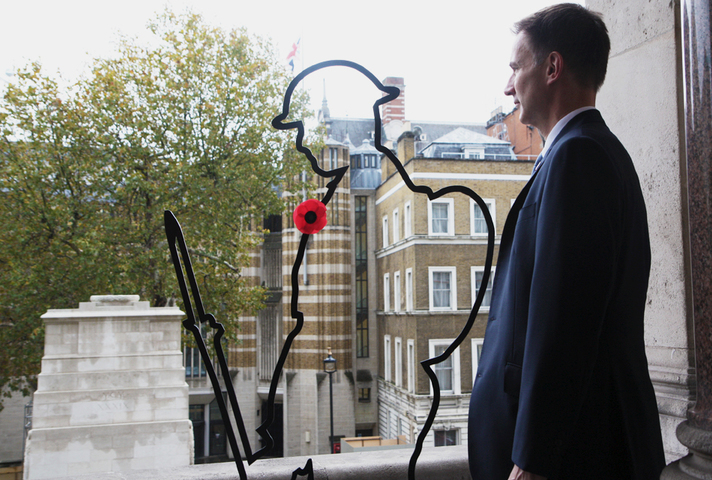 Foreign Secretary Jeremy Hunt views the There But Not There installation at the Foreign & Commonwealth Office