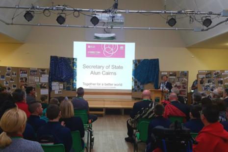 Alun Cairns launches the programme at Heronsbridge School in Bridgend
