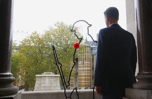 Landscape of Jeremy Hunt beside an outline of a soldier from WW1