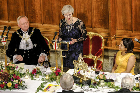 Prime Minister Theresa May speaking at Lord Mayor's Banquet