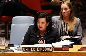 Ambassador Karen Pierce at the UN Security Council briefing on Kosovo