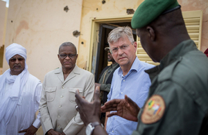 Jean-Pierre Lacroix (second from right), Under-Secretary-General for Peacekeeping Operations, meets with staff of the G5 Sahel Joint Force. (UN Photo)