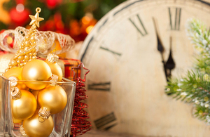 Clock with christmas decorations