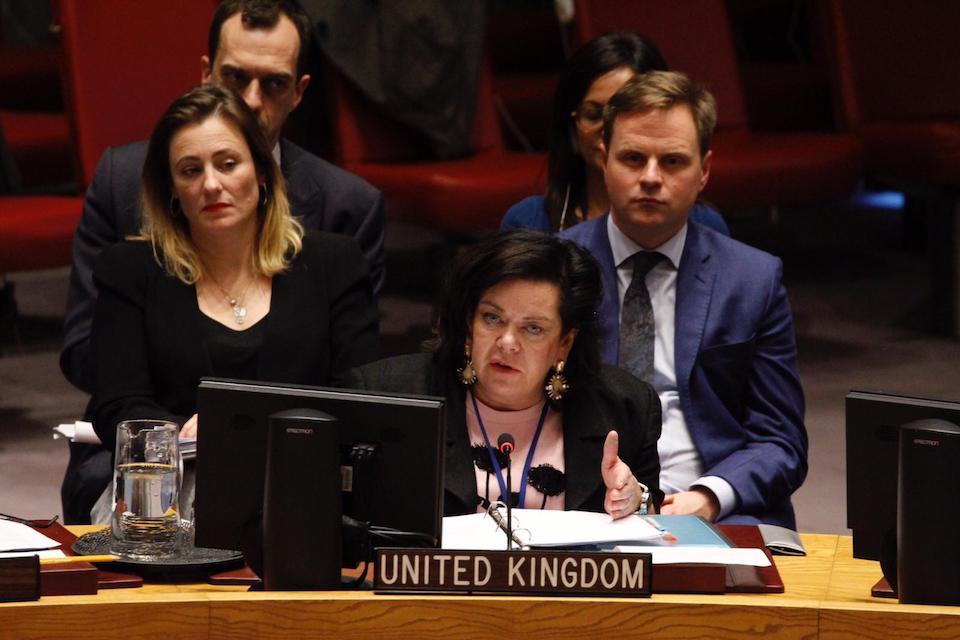 Ambassador Karen Pierce at the Security Council briefing on Yemen