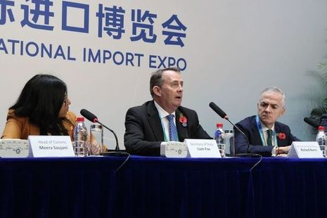Liam Fox addresses international investors at the Chinese International Import Expo
