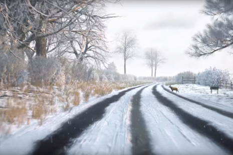 Image from a hazard perception test video clip, showing a road covered in snow, with a deer stood at the side of the road