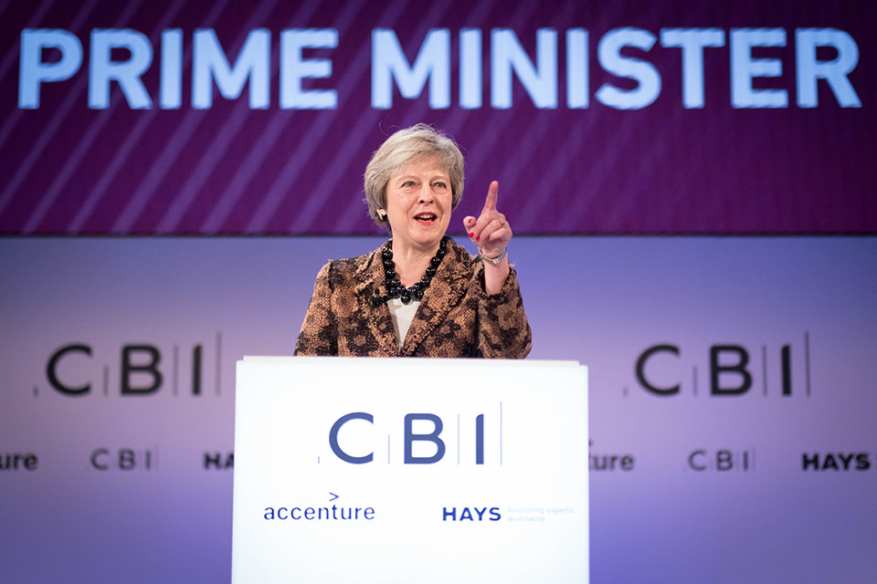 PM Theresa May addressing CBI