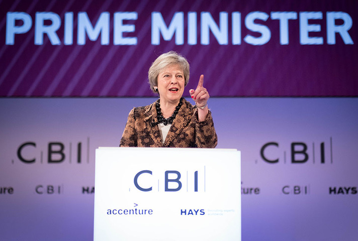 PM Theresa May addressing CBI