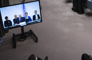 Staffan de Mistura (centre on screen), UN Special Envoy for Syria, briefs the Security Council on the situation in the Middle East (Syria). (UN Photo)
