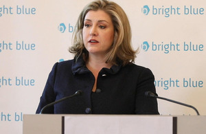 Minister for Women and Equalities Penny Mordaunt speaking at Bright Blue