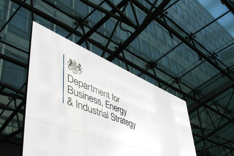 Image of the Department for Business, Energy and Industrial Strategy sign.