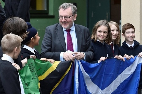 Scottish Secretary visits school in Edinburgh to hear about their partnership with Tanzanian schools.