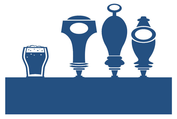 A blue logo featuring beer pumps on a bar