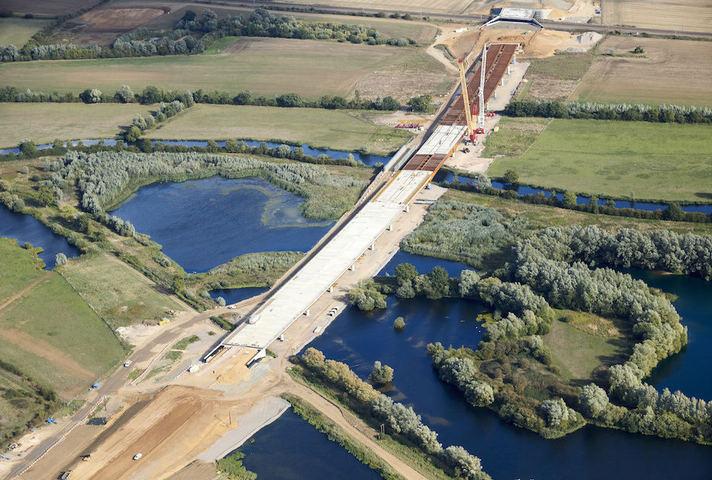 750m River Great Ouse viaduct bridge, A14 Cambridge to Huntingdon improvement road scheme