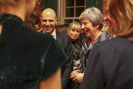 Prime Minister Theresa May with guests at reception in Downing Street