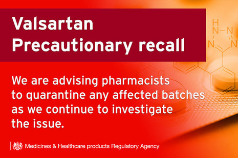 Text on image: Valsartan precautionary recall