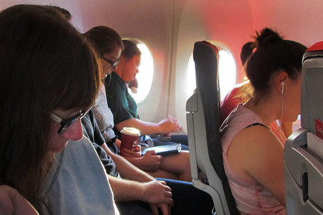 Inflight airplane passengers.