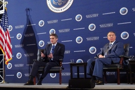 Defence Secretary Gavin Williamson speaking at the Reagan National Defense Forum, in California.