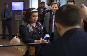 Karen Pierce, Permanent Representative of the United Kingdom to the UN, briefs press outside the Security Council. (UN Photo)