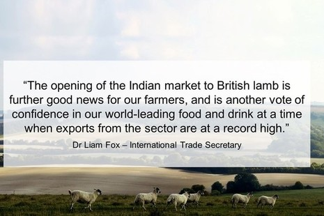 Quote card featuring an image of a lamb and the quote in the press release from Dr Liam Fox