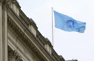 United National Flag Waving Over Whitehall