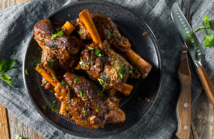 Lamb shanks on a plate