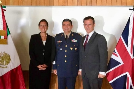 Defence Minister Mark Lancaster with Mexico's new Secretary of National Defence, General Luis Sandoval Gonzalez, and British Ambassador Corin Robertson.