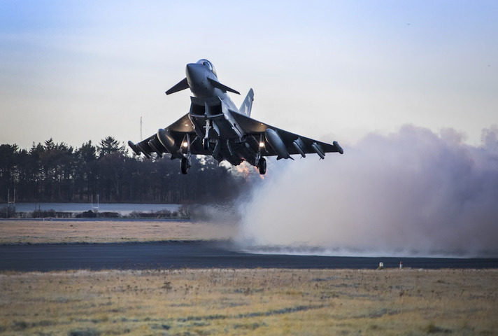 RAF Typhoon launches from runway