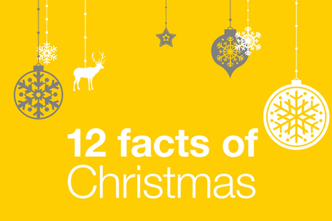 Title of 12 facts of Christmas against a yellow background with Christmas decorations.