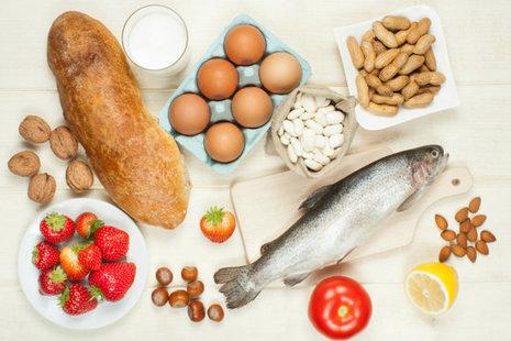 Most common allergenic foods, milk, fish, nuts, etc