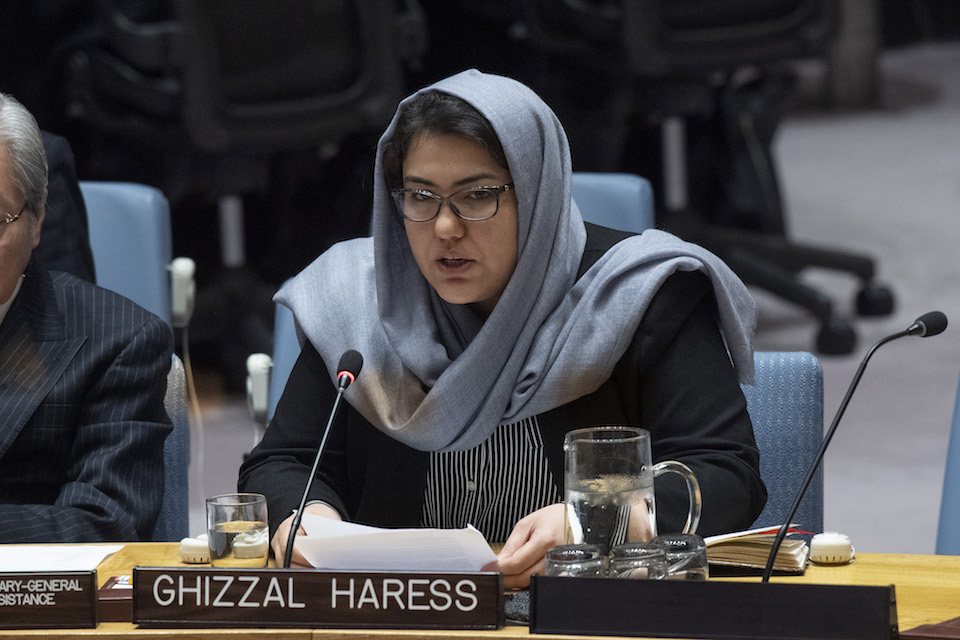 Ghizaal Haress, Commissioner at the Independent Commission for Overseeing the Implementation of the Constitution, addresses the Security Council meeting on the situation in Afghanistan and its implications for international peace and security. (UN Photo)