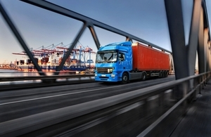Photo of a lorry at a port