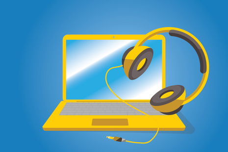 Illustration of a laptop and headphones