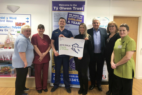 DVLA representatives meet with some of the team at Tŷ Olwen