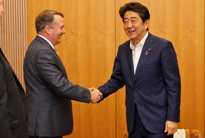 Secretary of State Liam Fox MP meeting Japanese Prime Minister Shinzo Abe in August 2018