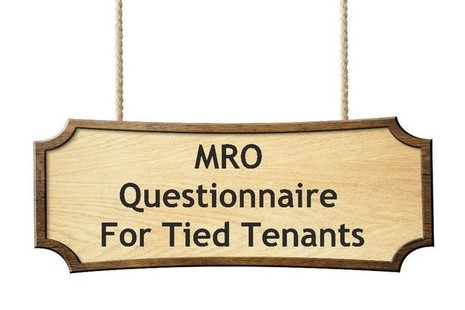 A hanging sign containing the text MRO questionnaire for tenants.
